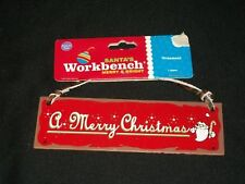 A Merry Christmas Metal Tree Ornament Red Santa Workbench Sign Country Rustic