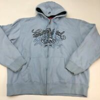 Ecko Unltd Hoodie Mens 2XL XXL Blue Full Zip Drawstring Insulated Logo Graphics