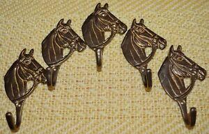 Lot 5 Vintage Solid Brass Horse Head Decorative Coat Hook Wall Mount Tack Hanger