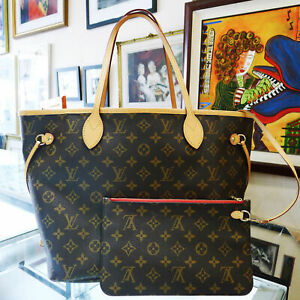 ✾'✾Louis✾'✾ Vuitton✾'✾ Neverfull MM Mon Monogram Tote Bag Purse with Clutch Red