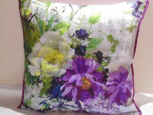 Designers Guild  floral 100% Linen Fabric Aubriet Amethyst Cushion Cover D5