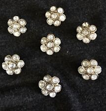 "7 VINTAGE 1/2"" FANCY WHITE & SILVER RHINESTONE FLOWERS BUTTONS"
