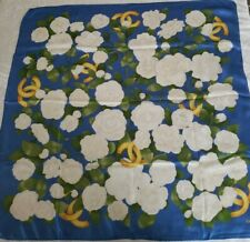 Chanel Blue And White Gardenias Silk Scarf