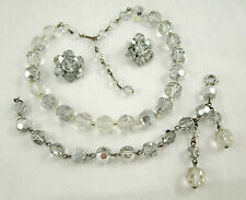 Swarovski Crystal Comet Argent & Clear Bead SUITE Necklace Bracelet Earrings #91