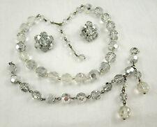 Swarovski Crystal Comet Argent & Clear Bead SUITE Necklace Bracelet Earrings