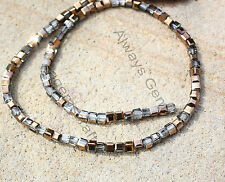 40 Copper Gold Grey half coated faceted crystal glass 4mm cube loose beads new