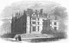 LANCASHIRE. Worsley Hall, seat of Lord Francis Egerton, antique print, 1846