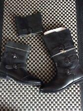 BNIB ZIPPYBOOT Zip-Off Black Biker Boots UK 8 Leather Outer & Inner