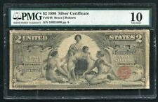 """FR. 248 1896 $2 TWO DOLLARS """"EDUCATIONAL"""" SILVER CERTIFICATE PMG VERY GOOD-10"""