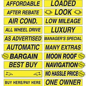 """Car Dealer Windshield Stickers Slogans Yellow and Black 25 packs 15"""" Mix n Match"""