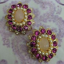 Vintage Large Clip On Rhinestone Earrings Round Purple Pink Cocktail Party