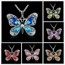 Vintage Crystal Rhinestone Butterfly Pendant Necklace Long Chain Women Jewellery