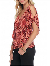 NWT Free People Amour Cold Shoulder Cutout Abstract Floral Print Top Coral S 4 6