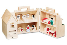 Folding Doll House Girl Toy Wooden Figure Furniture Play Learning Carry Handle
