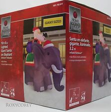 Christmas Home Accent Holiday 10 ft 6 in Giant Santa on Elepant Inflatable NIB