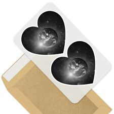2 x Heart Stickers 10 cm - BW - Awesome Planet Earth Space Moon  #41225