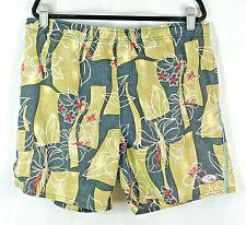 Quick Silver Men's Swim Trunks, Green & Black w/ a Floral Pattern Size: Large