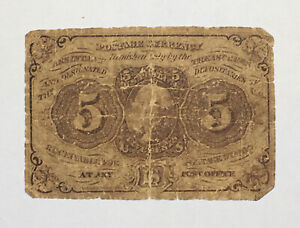 5 Cent Fractional Currency Postage Note 1862 1863 CIVIL WAR ERA