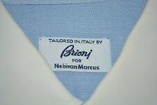 $625 Brioni Royal Oxford Cotton Dress Shirt 17.5 36 Contrast Blue White Italy