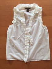 Marc by Marc Jacobs Sleeveless Cotton Silk White Ruffles Stripes Top Blouse S
