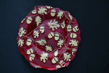 Murano Italian Art Glass Plate - Red and Gold Holiday Motif - Leaves and Acorns