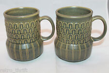 Set of 2 Vintage Wedgwood Cambrian Green Coffee Tea Mug Cup Made in England