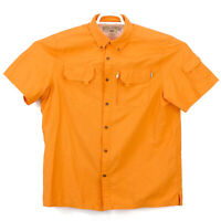 Field & Stream Button Up Shirt Men's Large Short Sleeve Orange Casual Outdoors