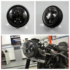 Motorcycle Black LED Projector Daymaker Headlight For Cafe Racer Bobber Touring