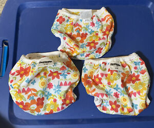 Set Of 3 Bummis Super Whisper Wrap Cloth Diaper Cover Floral Pattern Small