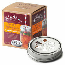 Kilner Drinking Jar Lids Pack of 6 | Round Flower Replacement Jam Jars Lids Set