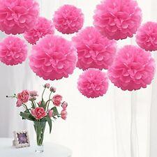 Caliente Rosa Papel De Seda Pompones 12 pulgadas para la boda, decoraciones de fiesta & - 10Pcs