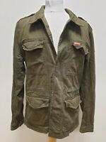 R909 MENS SUPERDRY GREEN MILITARY STYLE BUTTON UP JACKET UK L EU 54