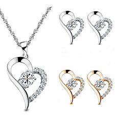 Parure plaqué or, zircon transparent coeur pendentif, boucles d'oreille bijoux N