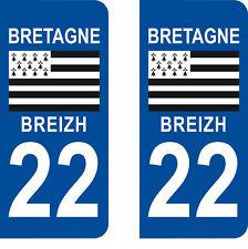 Département 22 sticker 2 autocollants style immatriculation AUTO PLAQUE Bretagne