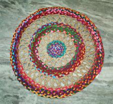 RUGS ROUND Beige Multi Tint Circle Natural Jute Floor mat Organic **FREE POST**