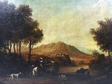 Romantika Landschaft Gemälde Bild Frankreich Schweiz 19 Jh. Jagd Hund