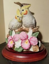 """Vintage Enesco Music Box 1988 """"Yellow Bird"""" Cockatiels With """"Flying"""" Butterfly"""