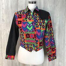 Vtg Top Shirt 80's Color Block Country Girl Western  Cowboy Abstract Roughrider