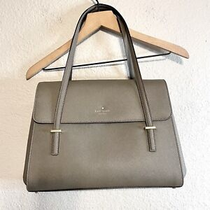 Kate Spade Large Triple Compartment Tote Shoulder Bag Leather Gray