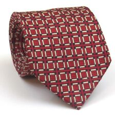 """Thomas Pink Tie Mens Silk Tie Red And White Geometric Pattern 59"""" Long 3.5"""" Wide"""