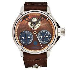 L. Kendall Men's K6 Brown indicador de madrepérola Pulseira De Couro Marrom Relógio Automático K6-002