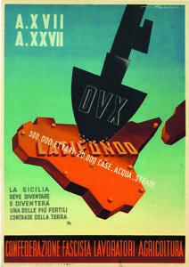 FUTURISMO ROVERONI ASSALTO AL LATIFONDO SICILIA DUX MUSSOLINI 1939 LOCANDINA
