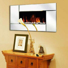 Wall Mounted Glass Fireplace Electric Fire Widescreen Home Living Flame Mirror