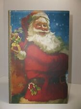 Vintage Wood SANTA Christmas BOX Book Bible Cover Storage