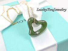 Tiffany & Co Peretti 18K Gold LARGE 23mm Green Jade Open Heart Chain Necklace