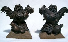 ROOSTER BOOKENDS Polystone Carved Dark Brown Woodlike Finish Nicely Detailed