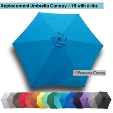 9ft Patio Outdoor Market Umbrella Replacement Canopy Cover Top 6 ribs. Teal