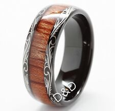 Tungsten Carbide Ring Wood Inlay 8mm Comfort Fit Wedding Band 8-13