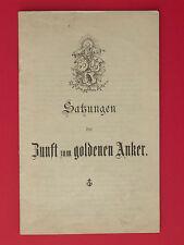 alte SATZUNG der Zunft zum goldenen Adler Kunstfreunde Berlin von 1893 ( 7223