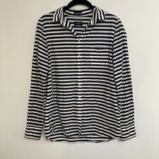 paul shark yachting shirt made in Italy Blue White Stripe Pocket Top Small EU 42